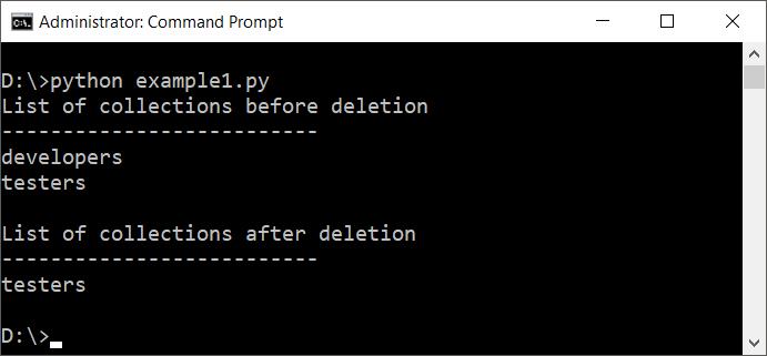 Delete or Drop MongoDB Collection using PyMongo