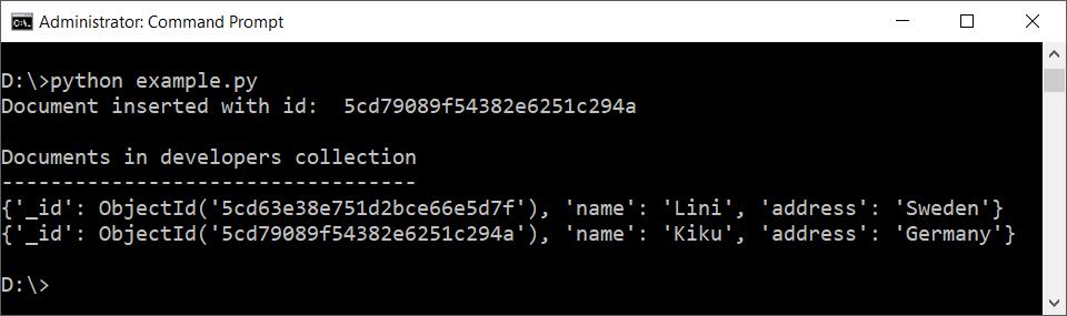 Python MongoDB Insert Document