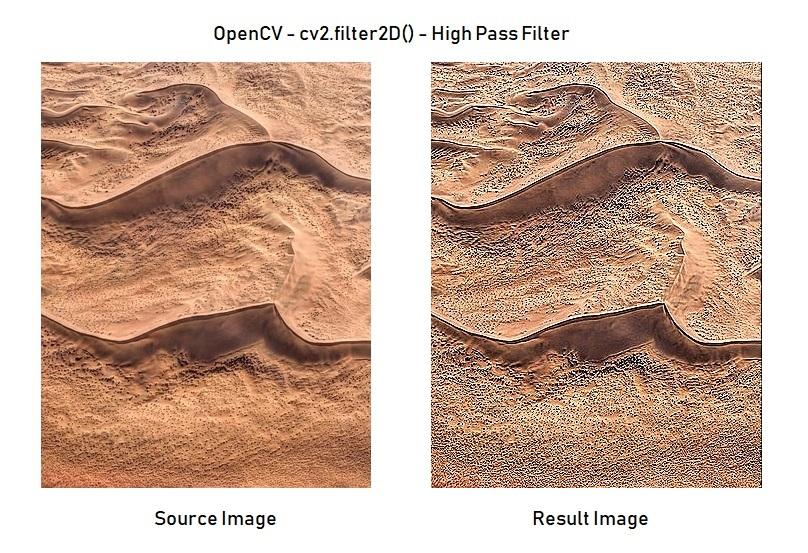 Python - OpenCV - High Pass Filter - cv2.filter2D()