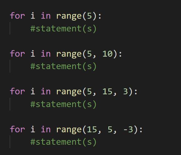 Python - for i in range()